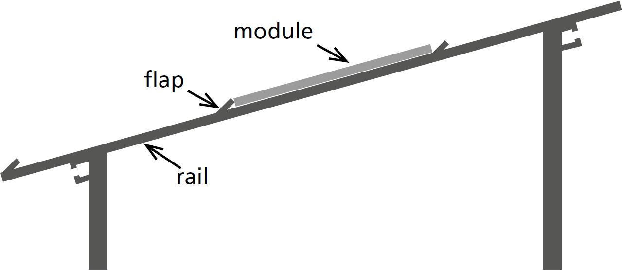 Solar racking system smartFLAP, side view