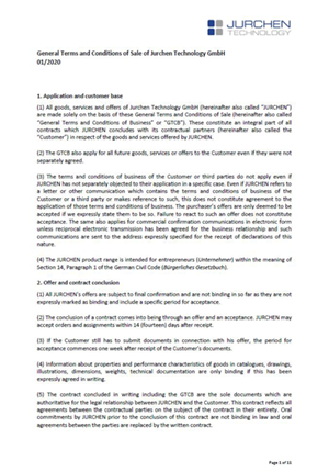 General Terms and Conditions of Sale of Jurchen Technology GmbH
